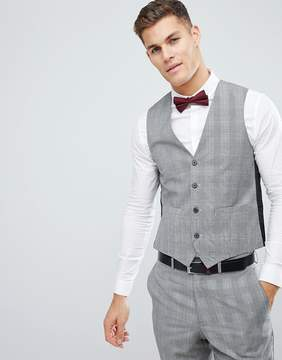 French Connection Wedding Skinny Vest In Gray Check
