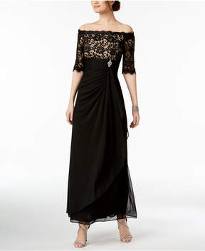 Betsy & Adam B & A by Off-The-Shoulder Lace Gown