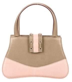 Valextra Karung-Trimmed Bicolor Handle Bag