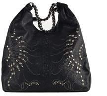 Roberto Cavalli Black Croc Textured Leather Stud Embellished Shoulder Bags