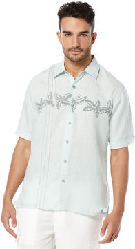 Cubavera Short Sleeve 100% Linen Embroidered and Print