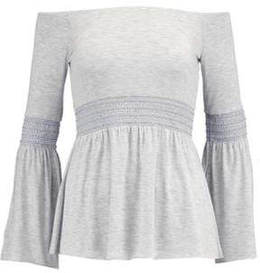 Bailey 44 Smocked Stretch-Jersey Top