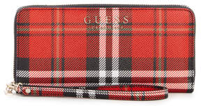 GUESS Lizzy Plaid Zip-Around Wallet