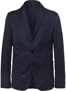Aspesi Blue Unstructured Cotton And Linen-Blend Twill Blazer