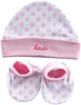 Luvable Friends Pink 'Love' Beanie & Booties - Newborn