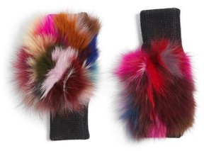 Jocelyn Women's Genuine Fox Fur Fingerless Mittens