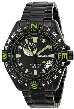 Seiko Superior Black and Green Dial Black PVD Stainless Steel Men's Watch