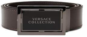 Versace Men's Stainless Steel Buckle Leather Belt Brown
