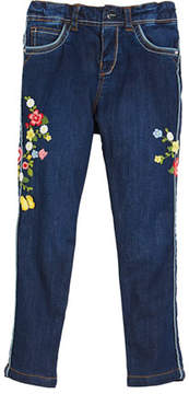 Mayoral Floral Embroidered Denim Jeans, Size 12-36 Months