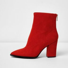 River Island Womens Red wide fit block heel pointed ankle boots