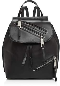 Marc Jacobs Zip Pack Small Leather Backpack - BLACK/SILVER - STYLE