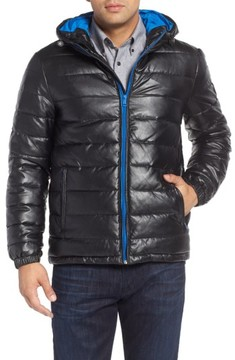 Cole Haan Men's Quilted Faux Leather Hooded Puffer Jacket