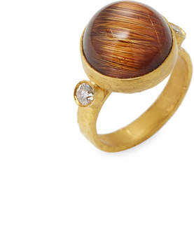 Artisan Women's Rutalited Quartz & Diamond 18K Yellow Gold Bezel Ring