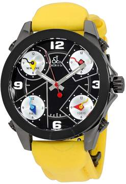 Jacob & co Jacob and Co. Five Time Zone Black Dial Yellow Strap Men's Watch