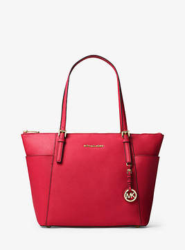 Michael Kors Jet Set Large Top-Zip Saffiano Leather Tote - RED - STYLE