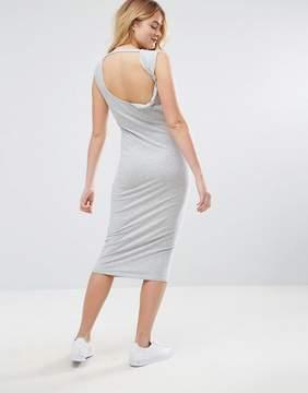 Asos Shoulder Pad Open Back Midi Dress