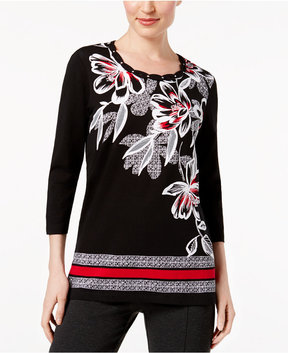 Alfred Dunner Talk Of The Town Floral Geometric Top
