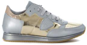 Philippe Model Tropez Opaque Silver And Gold Leather Sneaker