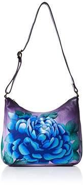 Anuschka Anna by Women's Genuine Leather Medium Hobo Shoulder Bag | Hand Painted Original Artwork | Precious Peonies