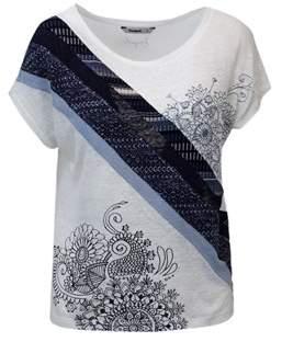 Desigual Women's White Linen T-shirt.