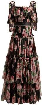 Dolce & Gabbana Rose-print tiered-chiffon gown