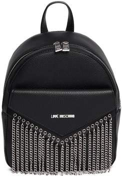 Love Moschino Chain Accent PU Leather Backpack