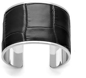 Aspinal of London Silver Cleopatra Cuff Bracelet In Deep Shine Black Croc