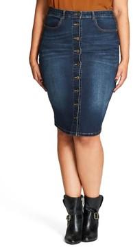 City Chic Plus Size Women's Pin Up Denim Skirt