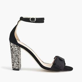 J.Crew Suede sandals with glitter heel