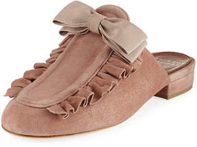 Laurence Dacade Planet Ruffle Suede Bow Flat Mule