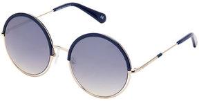 Balmain BL2513 Blue & Gold-Tone XL Round Sunglasses