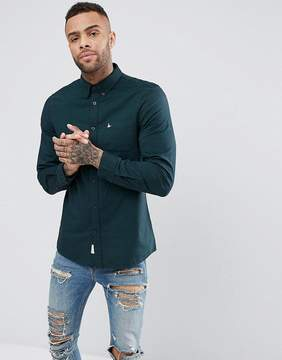 Jack Wills Wadsworth Oxford Plain Shirt In Dark Green