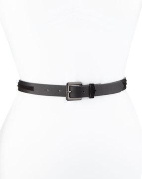 Neiman Marcus Velvet Overlay Trouser Belt