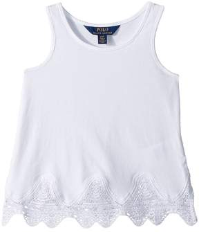 Polo Ralph Lauren Lace-Trim Jersey Tank Top Girl's Sleeveless