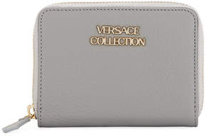 Versace Saffiano Leather Small Wallet, Gray