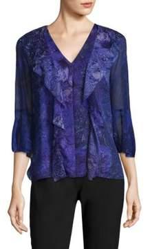 Elie Tahari Adalyn Silk Bell Sleeves Blouse