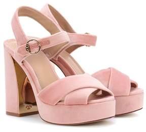 Tory Burch Loretta velvet plateau sandals