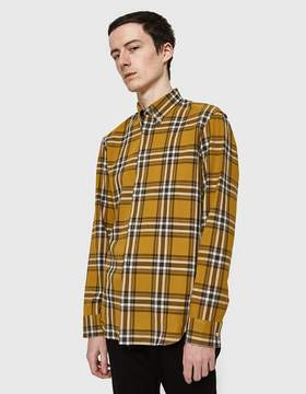 Maison Margiela Slim Fit Check Button Down Shirt Mustard Taupe