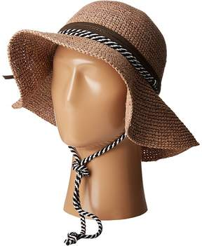 San Diego Hat Company RHM6008 Crochet Raffia Striped Chin Hat Traditional Hats