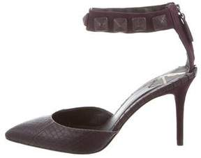 Brian Atwood Snakeskin Ankle Strap Pumps