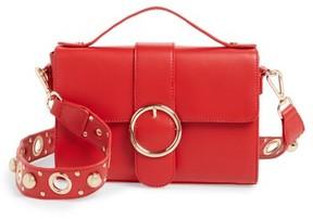 Street Level Studded Strap Crossbody Bag - Red