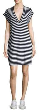 ATM Anthony Thomas Melillo Striped Extended Shoulder Shift Dress