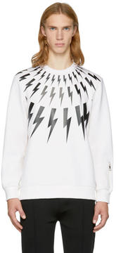 Neil Barrett Off-White and Black Fairisle Thunderbolt Zip Sweatshirt