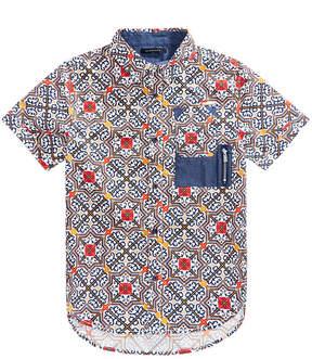 Sean John Big Boys Tile-Print Cotton Shirt