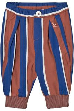 Bobo Choses Rust and Blue Awning Stripes Baby Baggy Trousers
