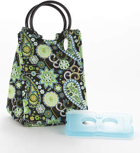 Fit & Fresh Green Paisley Retro Insulated Lunch Bag & Ice Pack