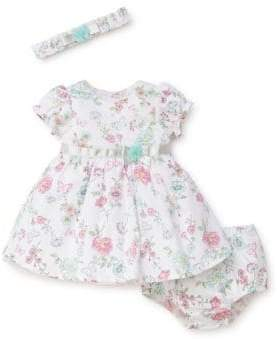 Little Me Baby Girl's Three-Piece Cotton Printed Dress, Bloomers and Headband Set
