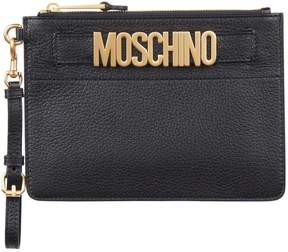 Moschino Leather Logo Wristlet Clutch