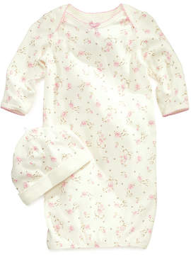 Little Me Baby Girls' Vintage Rose-Print Gown & Beanie Set