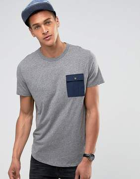 Esprit T-Shirt With Curved Hem And Contrast Pocket